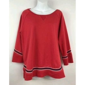 Lucky Brand Lucky Red Embroidered Sweatshirt Tops